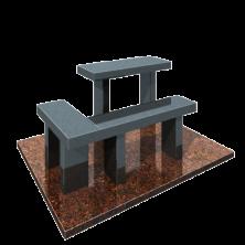 Стол и лавочка на могилу угловая
