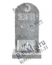 Мраморный мусульманский памятник с месяцем и мечетью