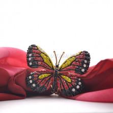 Зажим для платка бабочка бордовая