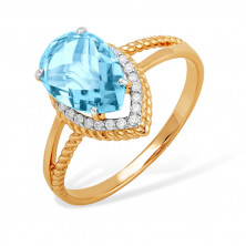 Кольцо из красного золота 585 с топазами, фианитами, капли, с большим камнем