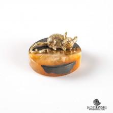 Латунная Крыса на подставке из камня Симбирцит
