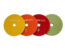 Алмазные гибкие шлифовальные круги Цветочек Pads 4-STEP 100D комплект