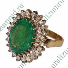 Кольцо с уральским изумрудом и бриллиантами Вес: 11.8 грамм