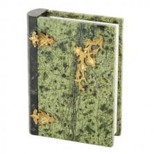 Шкатулка из змеевика - Книга из камня (14х11х4 см)