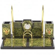 Настольный набор с часами «Щит» из камня