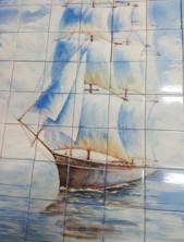 Плитка с ручной росписью. Панно «Кораблик»