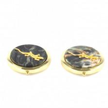 Зеркало карманное круглое с накладкой из офиокальцита и ящерицей, золотистое