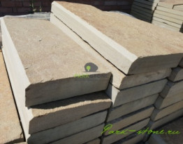 Поребрик садовый из камня серо-зеленый