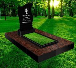 Памятник прямой 900*450*70, облицовка гранитной плиткой Maple Red