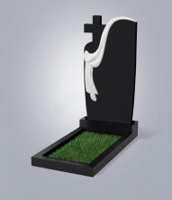 Памятник одинарный, черный гранит, габбро - диабаз, размер 1200*600*70