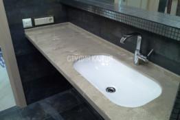 Столешница под мрамор для ванной комнаты из искусственного камня