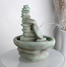 Настольный фонтан «Сад камней зелёный»
