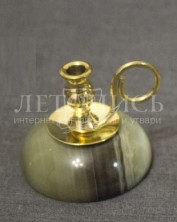 Подсвечник декоративный с основанием из оникса и ручкой (d=8мм под свечу)