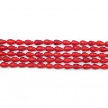 Бусины капля 5х9 мм, гладкие, коралл красный окраска природная