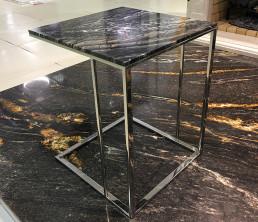 Прикроватный столик. Мрамор Silver Wave Brown 40*40*49 см