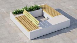 Скамейка бетонная «Бокс» с настилом